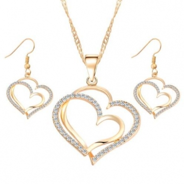 IFeel-3 Piece/set Romantic Heart Pattern Crystal Earrings Necklace Set Silver Color Chain Jewelry Gold as picture