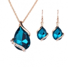 IFeel-3 Piece/set Fashion New Jewelry Sets Gold color Crystal Waterdrop Necklace Earrings Gift blue As Picture