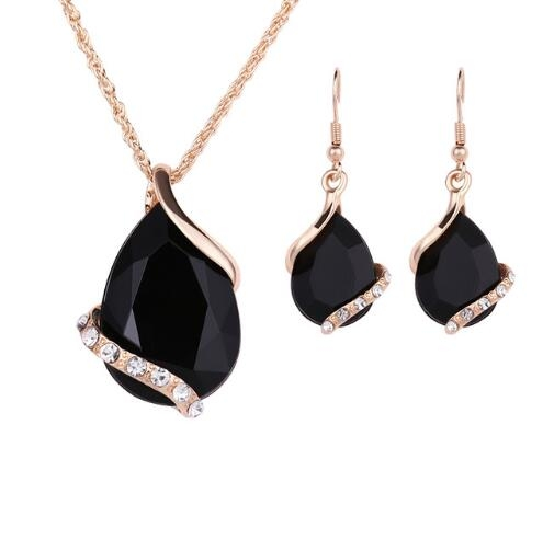 IFeel-3 Piece/set Fashion New Jewelry Sets Gold color Crystal Waterdrop Necklace Earrings Gift Black As Picture