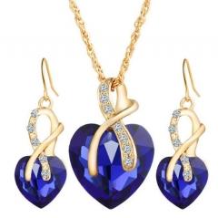 IFeel-3 Piece/set Fashion Love Crystal Heart Jewelry Sets For Women Necklace Earrings Jewellery Set blue as picture