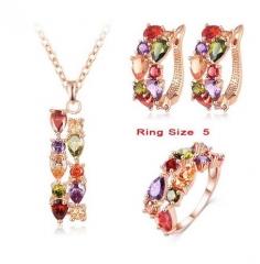 IFeel-4 Piece/set Fashion Flower Jewelry Set Zircon Pendant/Earrings/Ring Women Wedding Jewelry 5 as picture