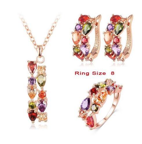 IFeel-4 Piece/set Fashion Flower Jewelry Set Zircon Pendant/Earrings/Ring Women Wedding Jewelry 8 as picture