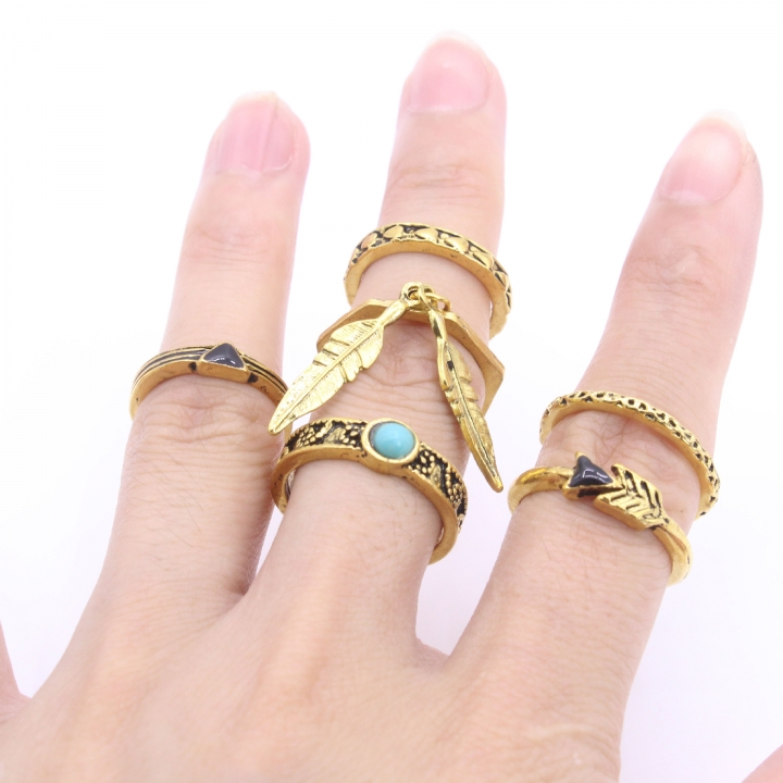 Ring Set Vintage Antique Lucky Arrow midi Rings for Women 6PCS/Set Blue Stone Jewelry gold one size