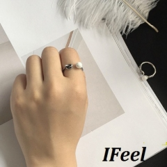 IFeel 1 PCS Fashion simple pearl knot opening ring one size Women jewelry silver rings*1
