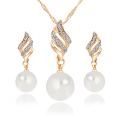 IFeel-3 Piece/set Fashion Women Necklace Earrings Jewelry Sets Crystal Simulated Pearl Wedding Party gold as picture