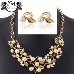 IFeel 2pcs/set leaves Pearl crystal necklace/earrings one size Women jewelry gold one size