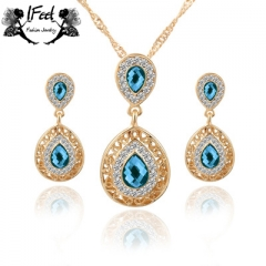 IFeel 2pcs/set Drop shaped crystal necklace/earrings combination one size Women jewelry blue one size