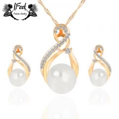 IFeel 2pcs/set Necklace/earrings suit combination one size Women jewelry gold one size