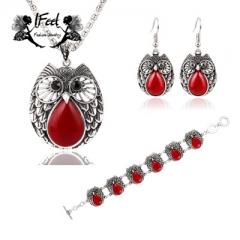 IFeel 3 PCS/set Fashion metal owl necklace/bracelet/earrings three-piece suit one size Women jewelry red one size