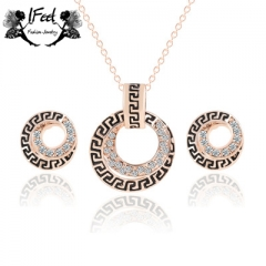 IFeel 2pcs/set of Fashion circle diamond-encrusted necklace/earring suit one size Women jewelry gold one size