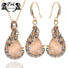 IFeel 2PCS/ set of Fashion peacock necklace/earrings suit one size Women jewelry gold one size