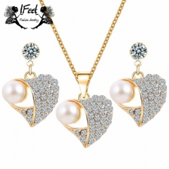 IFeel 2PCS/ set of Fashion heart-shaped pearl necklace/earnail suit one size Women jewelry gold one size