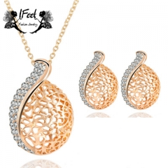 IFeel 2PCS/set of Fashion hollowed-out necklace/earrings suit one size Women jewelry gold one size