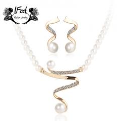 IFeel 2 PCS/set Fashion diamond-encrusted pearl necklace/earrings suit one size Women jewelry gold one size