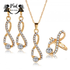 IFeel 3 PCS/set Fashion 8 - shaped diamond-encrusted necklace/earrings suit one size Women jewelry gold one size