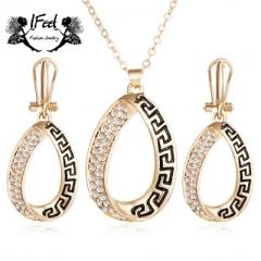 IFeel 2 PCS/set Fashion Great Wall cut diamond necklace/earrings suit one size Women jewelry gold one size