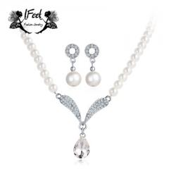 IFeel 2 PCS/set Fashion diamond-encrusted pearl necklace/earrings suit one size Women jewelry silver one size