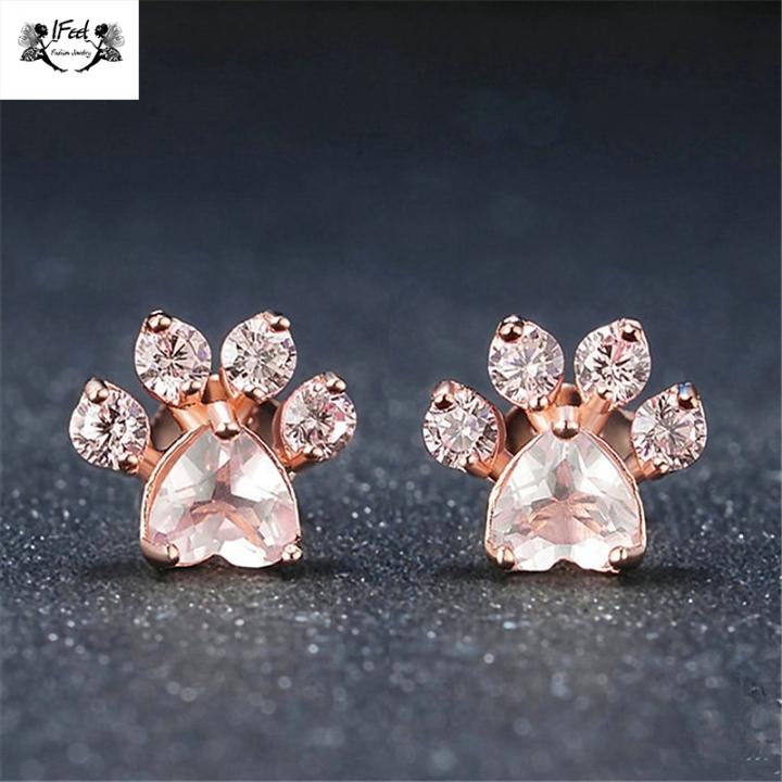 IFeel jewellery 1 Pair/Set New Fashion footprints Earrings For Women Jewellery Gift rose gold one size