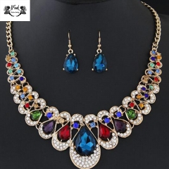 IFeel Jewellery 2 Piece/Set New Temperament fashion metal flash diamond necklace earring Women suit multi color 48+5cm