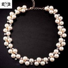 IFeel Jewellery 1 Piece/Set New Diamond Bridal Pearl Women Necklace GIft white 40+2cm