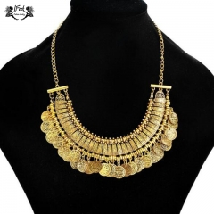 IFeel Jewellery 1 Piece/Set New Retro carved alloy water drill money Tassel Women Necklace gold 48+4cm