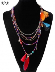 IFeel Jewellery 1 Piece/Set New Multi chain chain of pure handmade beaded Bohemia feather necklaces multi color 43+5cm