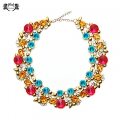 IFeel Jewellery 1 Piece/Set New Extravagant double crystal rounded Bridal Women Necklace multi color 40+2.8cm