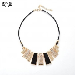IFeel Jewellery 1 Piece/Set New Irregular geometric abrasive Women Necklace Gold+black 45+3.6cm