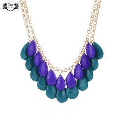 IFeel Jewellery 1 Piece/Set New Bohemia Ruili sweet acrylic water drop women necklace blue+green 50+7cm