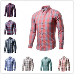 Cotton Men's casual plaid shirt 16 colors US size long sleeve Slim Fit Cotton Tops Male Wear Style 1 M