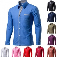 Cotton Spring Autumn Men Shirt Casual Solid Long Sleeve Slim Fit Male Formal Business Dress Shirts Durk Blue XL