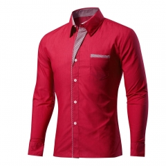 Cotton Spring Autumn Men Shirt Casual Solid Long Sleeve Slim Fit Male Formal Business Dress Shirts Wine Red XXXXL