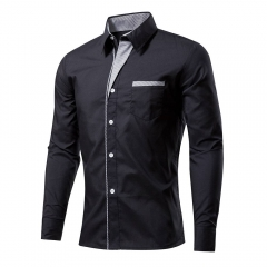 Cotton Spring Autumn Men Shirt Casual Solid Long Sleeve Slim Fit Male Formal Business Dress Shirts Black XXXXL