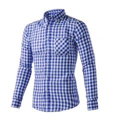 Cotton hot sales men men's shirt is the men's fashion leisure shirt stitching shirt Blue M