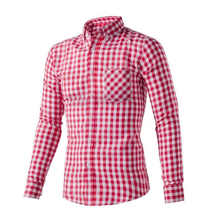 Cotton hot sales men men's shirt is the men's fashion leisure shirt stitching shirt Red XXXL