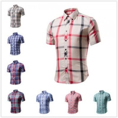 Cotton Printed Short Sleeve Men Shirt Brand Casual Turn-down Slim Fit Male Social Business Shirt style 1 M