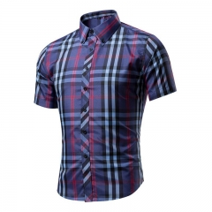 Cotton Printed Short Sleeve Men Shirt Brand Casual Turn-down Slim Fit Male Social Business Shirt style 3 L