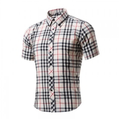 Cotton Printed Short Sleeve Men Shirt Brand Casual Turn-down Slim Fit Male Social Business Shirt style 4 XL