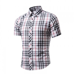 Cotton Printed Short Sleeve Men Shirt Brand Casual Turn-down Slim Fit Male Social Business Shirt style 5 L