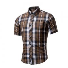 Cotton Printed Short Sleeve Men Shirt Brand Casual Turn-down Slim Fit Male Social Business Shirt style 10 XXL