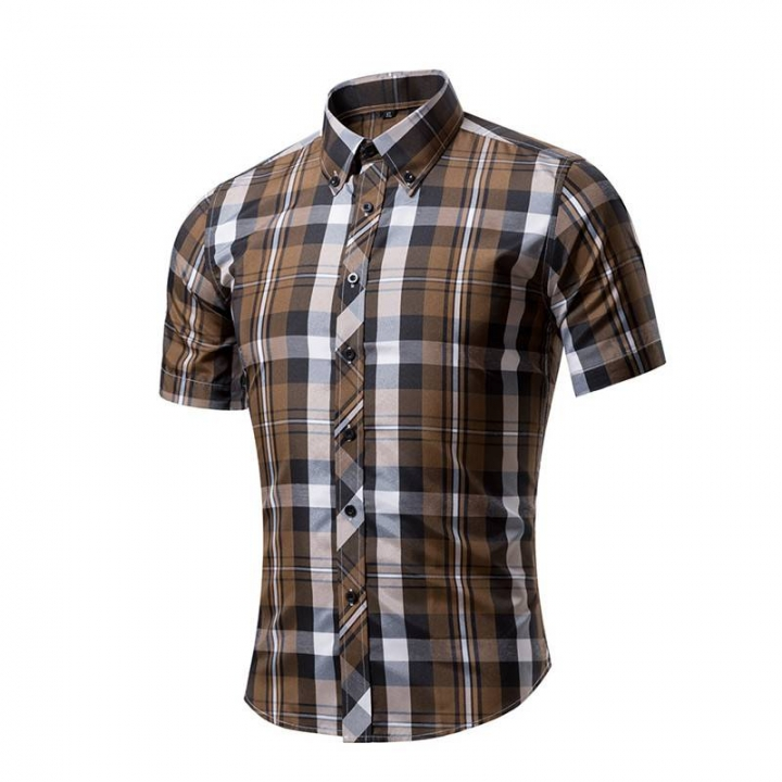 Cotton Printed Short Sleeve Men Shirt Brand Casual Turn-down Slim Fit Male Social Business Shirt style 10 XXL