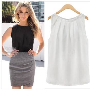 New Fashion Beautiful Sleeveless round collar chiffon tank top For Women Clothes White XXL