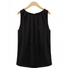 New Fashion Beautiful Sleeveless round collar chiffon tank top For Women Clothes Black XXL
