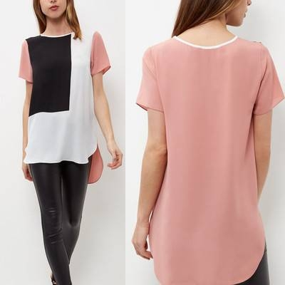 New Fashion Beautiful 5 color S-6XL hollow out O-neck chiffon shirt tank top style 1 S