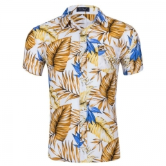 Cutton New Fashion Short Sleeve Silk Hawaiian Shirt Men Summer Casual Floral Shirts style 1 s