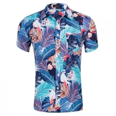 Cutton New Fashion Short Sleeve Silk Hawaiian Shirt Men Summer Casual Floral Shirts style 2 xl