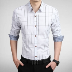 100% Cotton New Autumn Fashion Men PLaid Shirt Clothes Slim Long Sleeve Business Men's Clothes white m