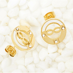 IFeel new fashion A pair of women American  earring exquisite round set zircon jewelry gift titanium steel 140 mm diameter