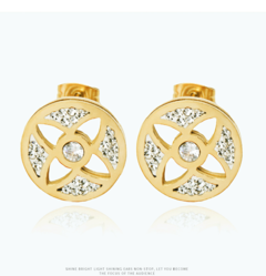 IFeel new fashion A pair of women American round titanium steel earrings inlaid with zircon gift titanium steel 140 mm diameter