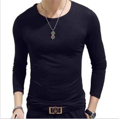 IFEEL oen New T-shirt long sleeve special forces slimming solid color round collar v collar round black m pure cotton